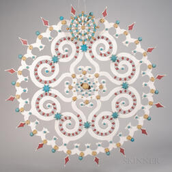 Carved and Polychrome Painted Flowering Circle