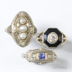 Three Art Deco White Gold Rings