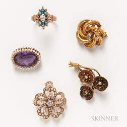 Five Pieces of Victorian and Art Nouveau Jewelry