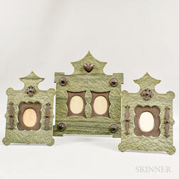 Three Green Slate and Carved Wood Picture Frames