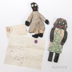 Two Black Cloth Dolls and a Civil War-era Letter