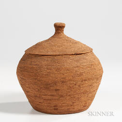 Eskimo Coiled Lidded Basket