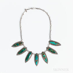 Navajo Silver and Turquoise Leaf Necklace