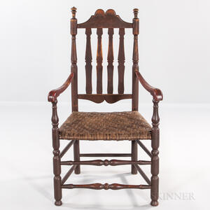 Red-painted Bannister-back Armchair
