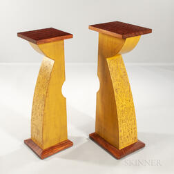 "Two Mark Del Guidice ""Tango"" Pedestal Tables"