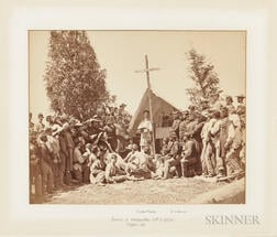Civil War Albumen of Church Services at the Headquarters of the 69th New York State Militia