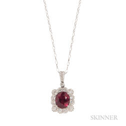 18kt White Gold, Rubellite, and Diamond Pendant