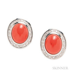 18kt Gold, Coral, and Diamond Earrings