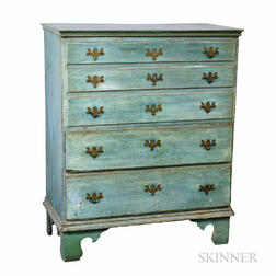 Queen Anne Blue-painted Two-drawer Blanket Chest