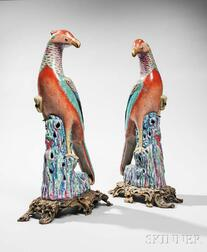 Pair of Chinese Porcelain Pheasants on Stands