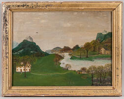 American School, 19th Century      Folk Art Landscape
