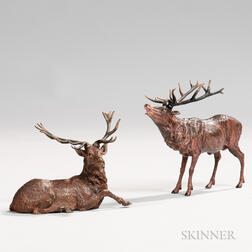 Two Cold-painted Bronze Elk Figures