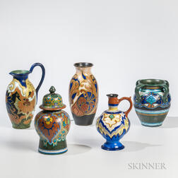 Five Gouda Pottery Items