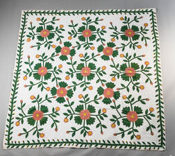 Hand-stitched Flowers and Vine Quilt