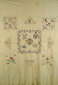 Crewel Embroidered Cotton Bedspread