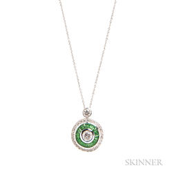 Diamond and Tsavorite Garnet Pendant