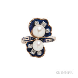 Gold, Enamel, Cultured Pearl, and Diamond Ring