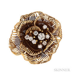 18kt Gold and Diamond Flower Brooch, David Webb