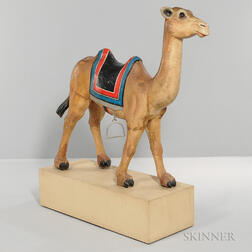 Carved and Painted Wood Carousel Figure of a Saddled Camel