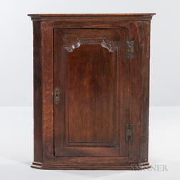 Georgian Oak Hanging Corner Cabinet