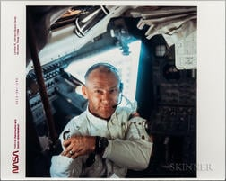 Apollo 11, Buzz Aldrin Weightless inside the Lunar Module Eagle, [and] Interior of LM, July 20, 1969.