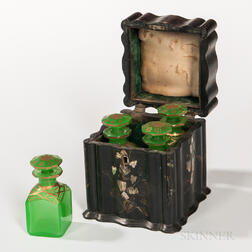 Lacquered and Shell-inlaid Perfume Box with Bottles