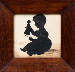 Cutwork and Watercolor Silhouette of a Girl Holding a Doll