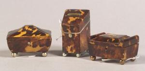 Three English Miniature Tortoiseshell Boxes