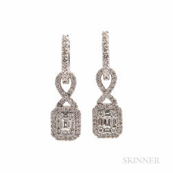 18kt White Gold and Diamond Day/Night Earrings