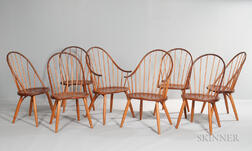 Eight Thomas Moser Bow-back Dining Chairs