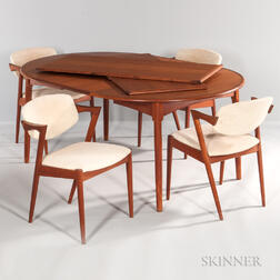 Danish Modern Teak Dining Table and Four Kai Kristiansen Chairs