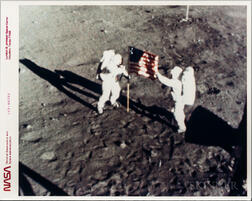 Apollo 11, Deployment of the Flag of the United States on the Surface of the Moon, July 1969.