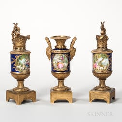 Sevres-style Porcelain and Dore Bronze Three-piece Garniture