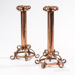Pair of Copper Candlesticks