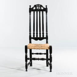 Black-painted and Carved Bannister-back Side Chair