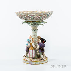 Meissen Porcelain Figural Compote with an Associated Base