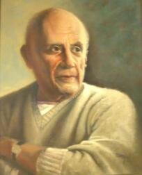 Framed Oil Portrait of Picasso