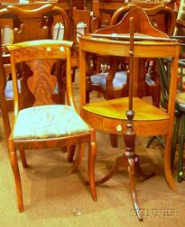 Classical Mahogany Veneer Side Chair, a Mahogany Corner Washstand, and a Regency Inlaid Mahogany Polescreen Bas...