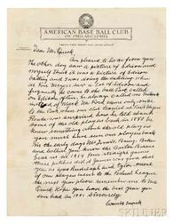 Mack, Connie (1862-1956) Autograph Letter Signed, Late 1950.
