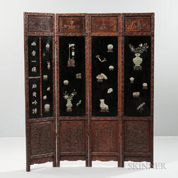 Four-panel Jade and Hardstone Screen