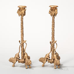 Pair of Dore Bronze Figural Candlesticks