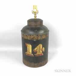 """Stenciled and Parcel-gilt """"14"""" Tea Cannister Table Lamp"""