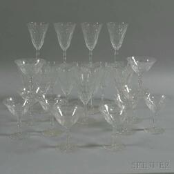 Twenty-four Pieces of Orrefors Gate-pattern Crystal Stemware