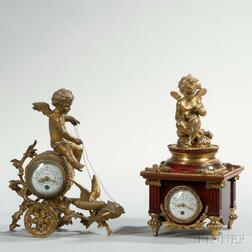 Two French Miniature Boudoir Clocks
