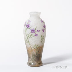 Daum Nancy Enameled Cameo Vase