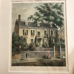 """Framed Bufford's """"Hancock House"""" and a French View of Boston Harbor"""