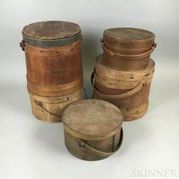Three Bentwood Handled Boxes and Two Buckets
