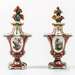 Pair of Meissen Porcelain Potpourri Vases and Covers