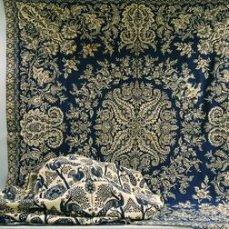 Two Blue and White Woven Coverlets.     Estimate $200-250
