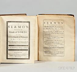 Sammelband of English Sermons, 1692-1770s, Thirty-eight Titles in Two Volumes.